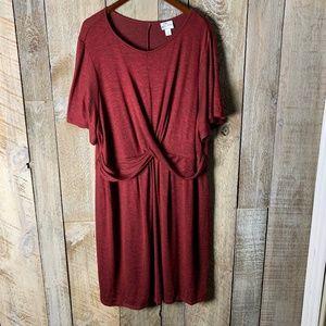 Ava & Viv Red Heathered Black Midi  Wrap Dress 3x